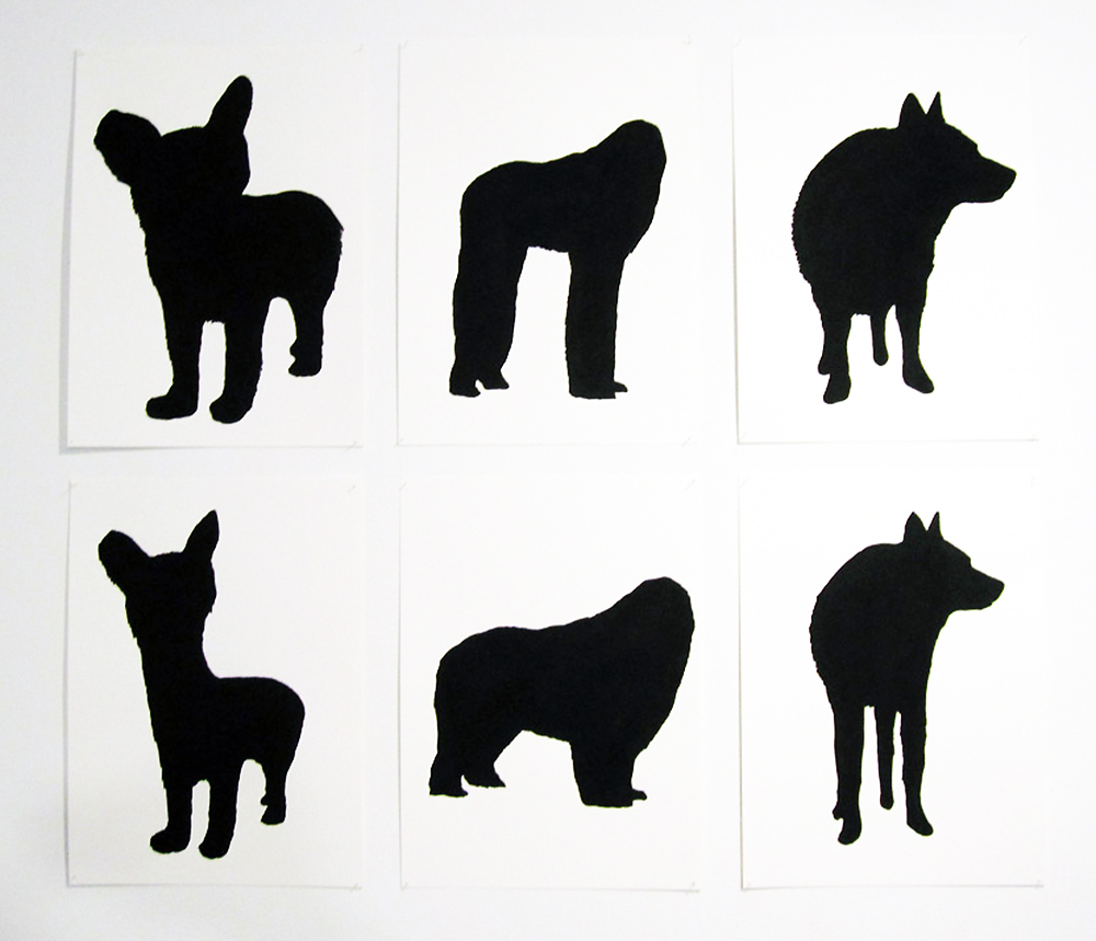 """known dogs"" ink and flashe on paper, 2012"