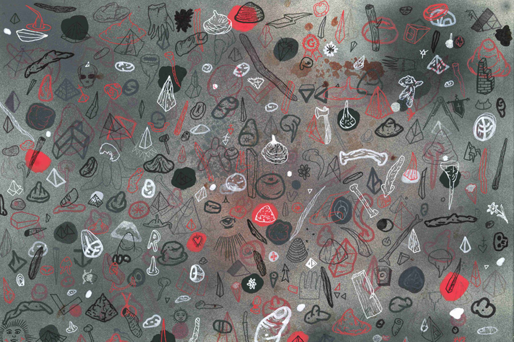 """the sounds you don't make as you walk through the woods"" (detail), ink, blood, spray paint and Flashe (vinyl paint) on paper, 30 x 80cm, 2012"