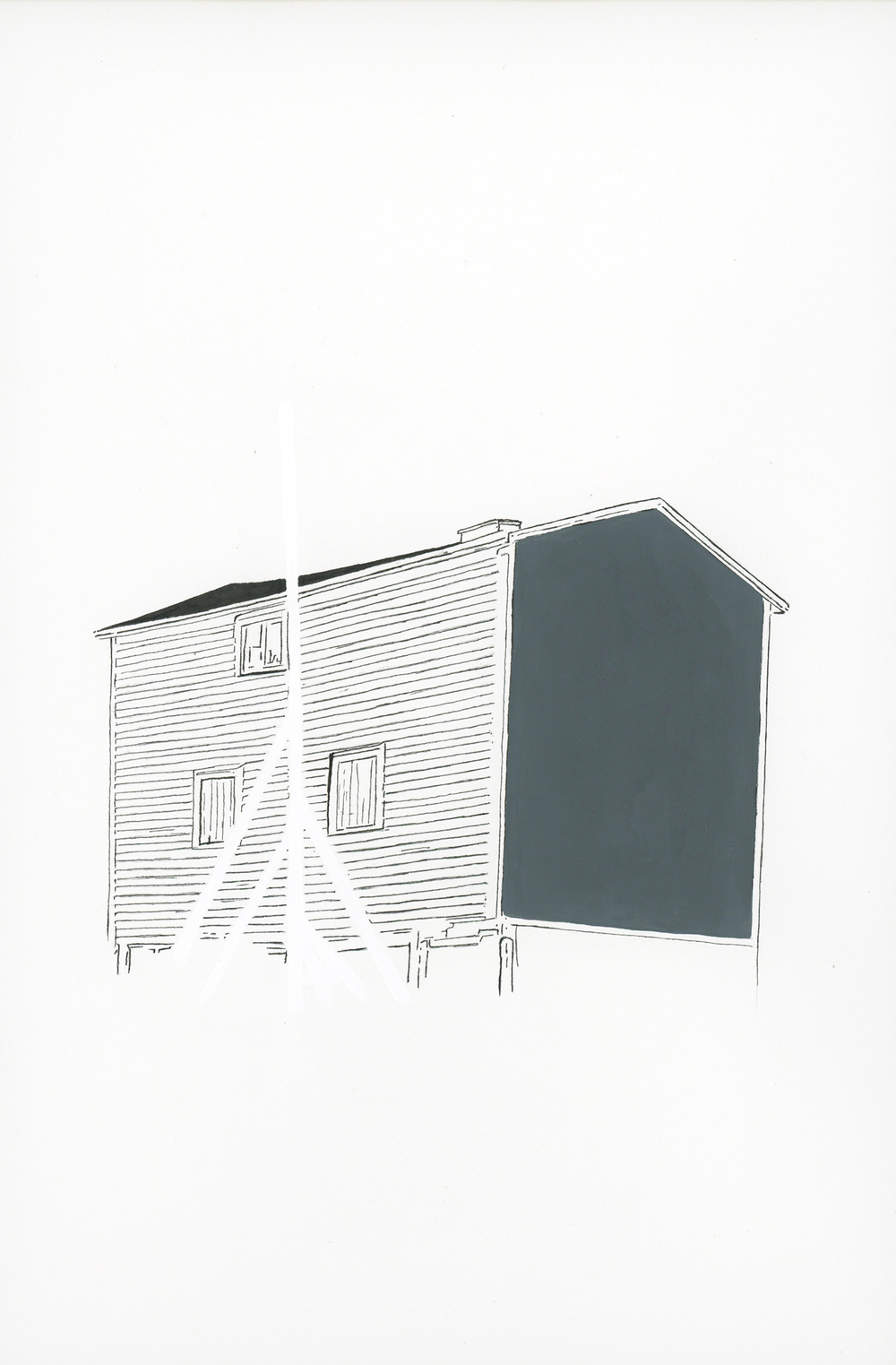 """flagpole (shed)"" ink and flashe on paper, 2013"