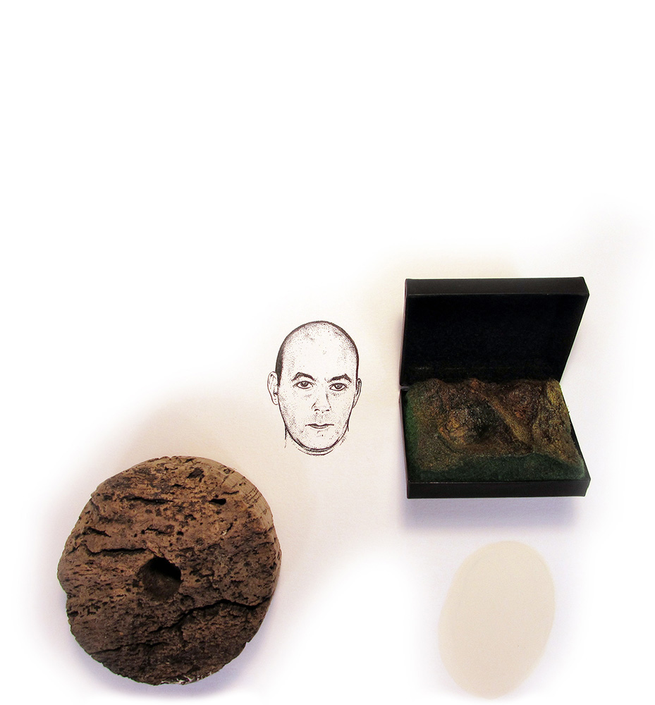 """tampered with dieter..."" ink drawing with cork float, found case with inserted landscape, 2015"
