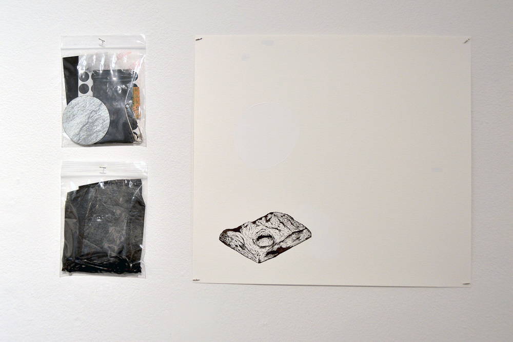"""the collective"" (installation detail) ink on paper, with found object and black chalk in plastic bags, 2016"