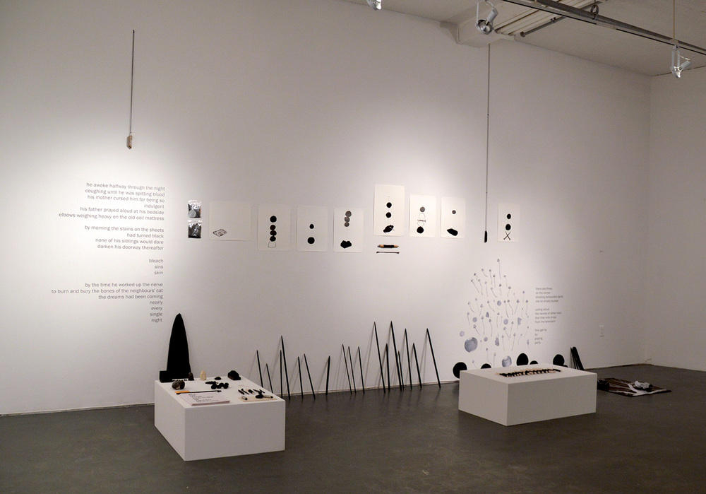 """rituals of preservation (part III)"" (installation overview) site-specific installation with drawing and objects, 2016"