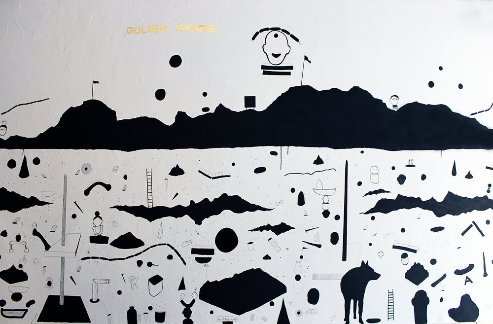 """golden promise"" (nscad artbar wall drawing) ink and vinyl, 2016"