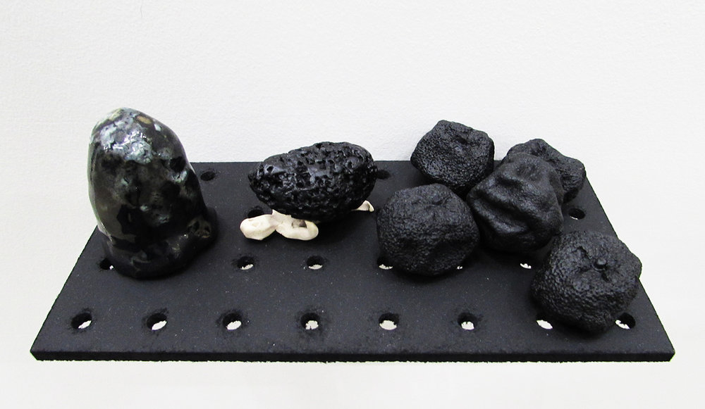 """tampered with dieter..."" ceramics with stone and paint, 2015"