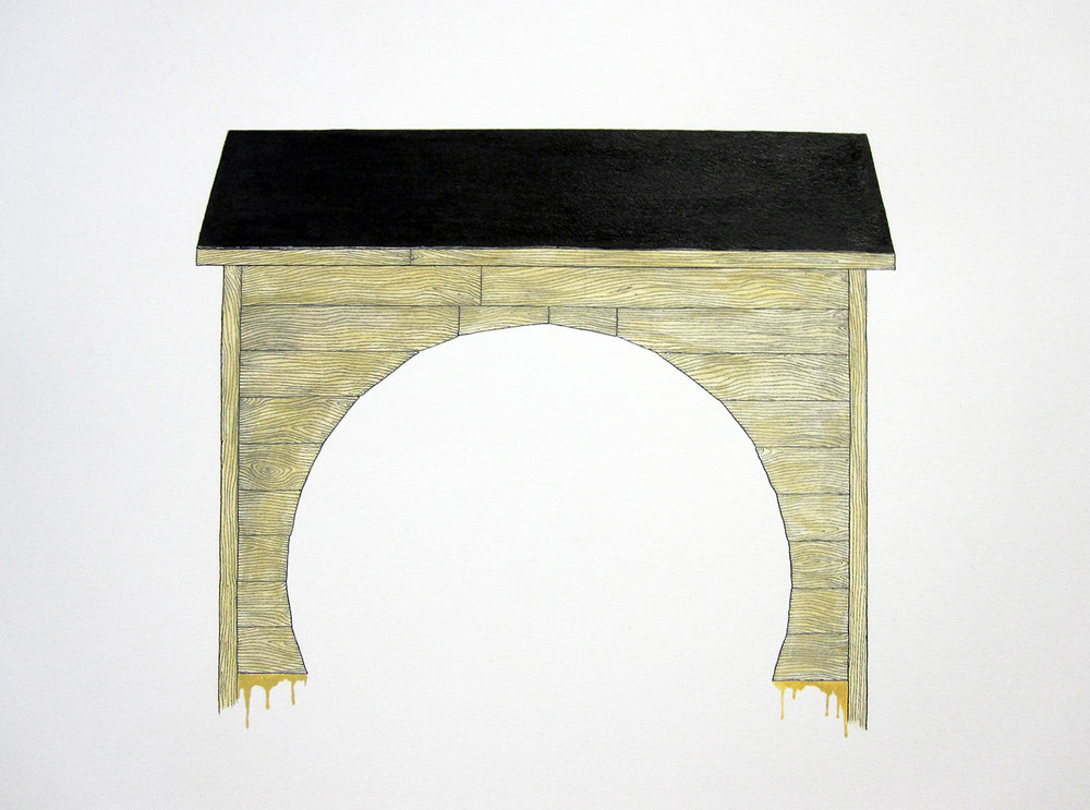 """fort (holed)"" ink and pigment on paper, 2006"