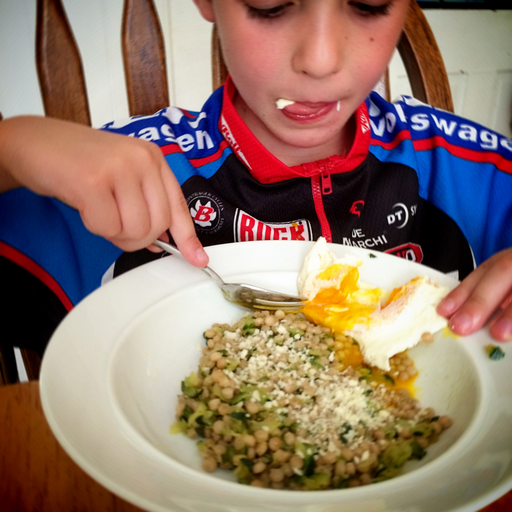 The kids don't usually share my affinity for  grain/veg/runny egg dinners , but this time they loved it.