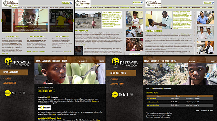 Photos used in websites for St. Luke Foundation & Hospital. And below, Restavek Freedom, helping enslaved kids in Haiti.