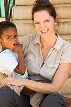 Rebecca with Haitian orphan