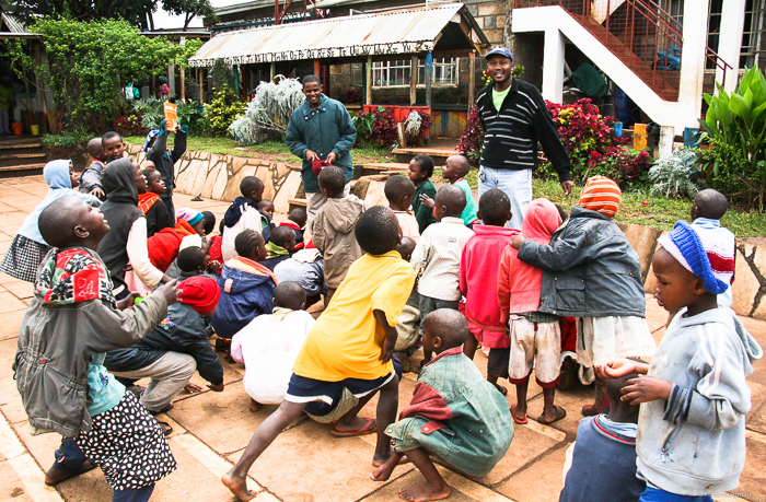 LCC Founder and Director, Patrick Mungai, and the kids whose difficult lives had a little luck, to have landed in this caring place.
