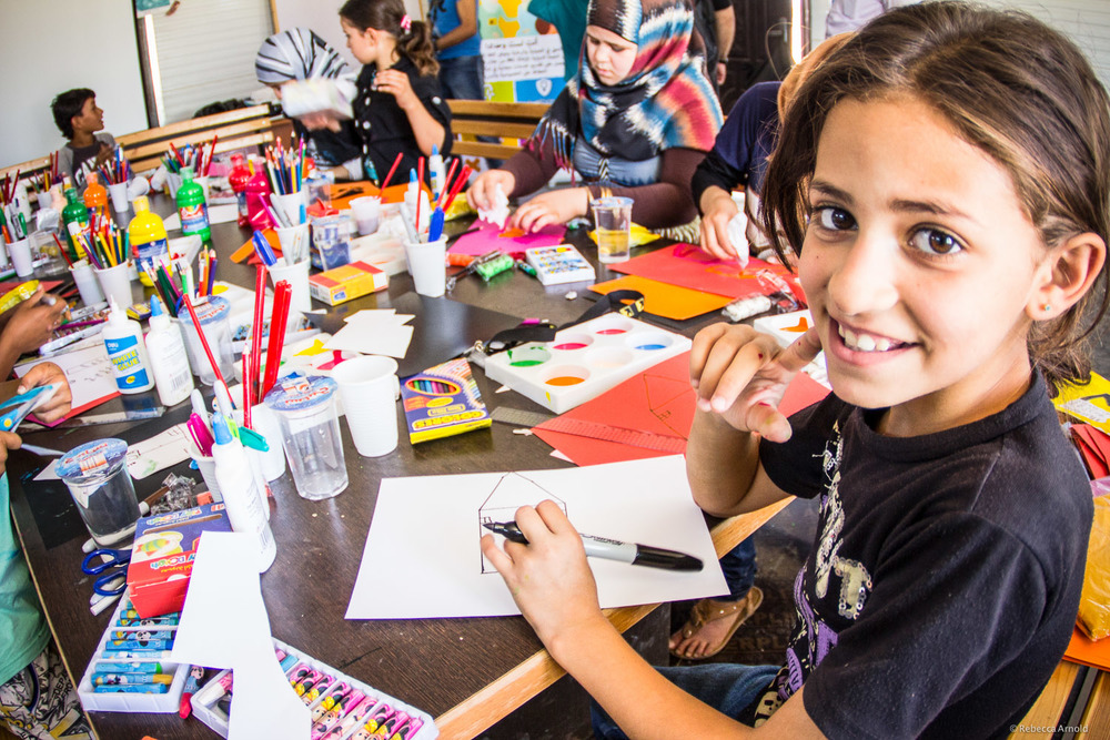 IRC art therapy for kids,  Zaatari Syrian Refugee Camp, Jordan