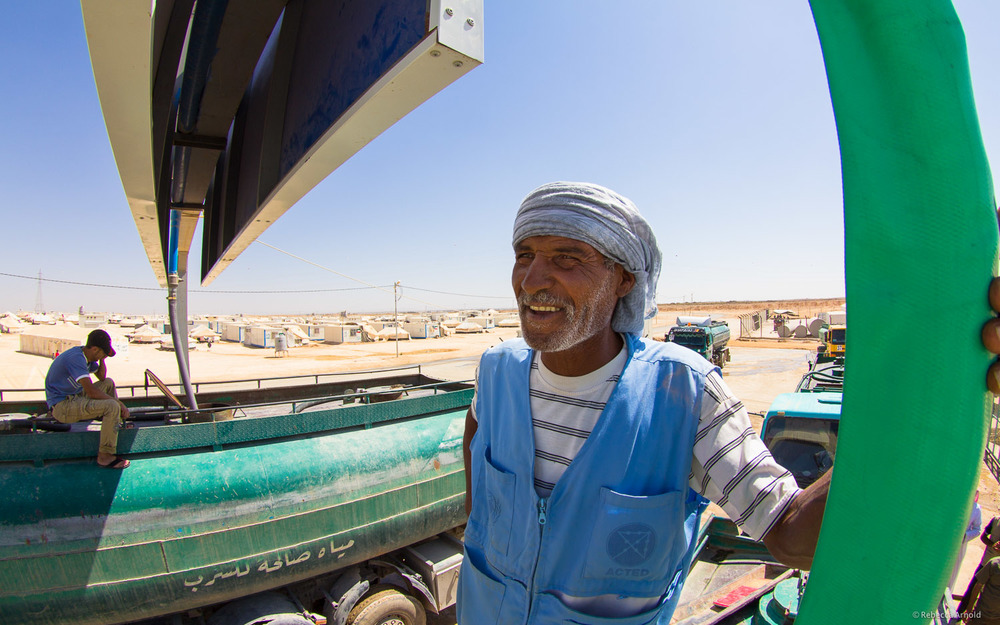UNICEF water trucks,  Zaatari Refugee Camp, Jordan