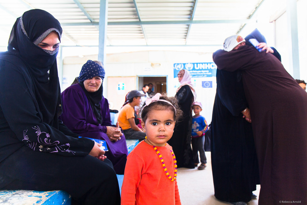 Jordanian Health Aid (JHAS) medical nonprofit's waiting room,  Zaatari Syrian Refugee Camp, Jordan