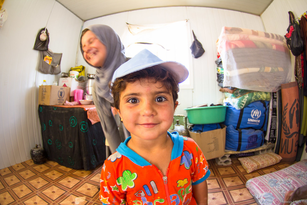Inside a refugee tented home,  Zaatari Syrian Refugee Camp, Jordan