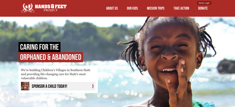 Website Home Page of Haiti's  Hands and Feet Project  - an orphanage with 2 locations caring for and educating some of the estimated 430,000 orphan kids in Haiti.