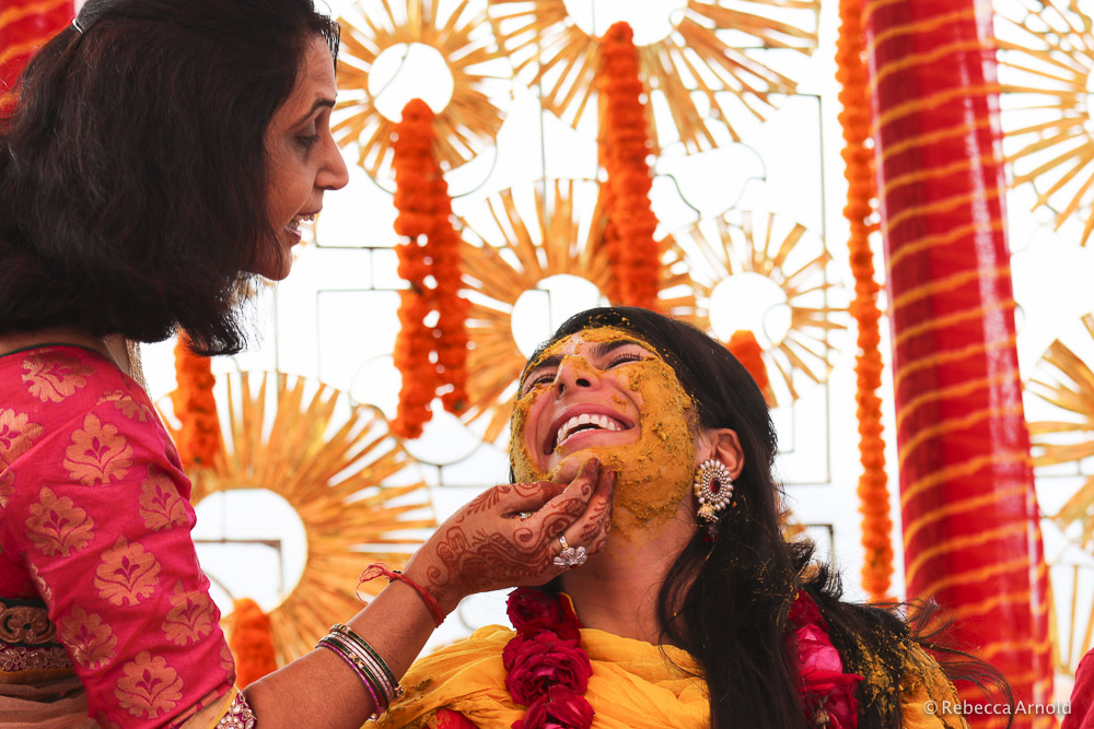 Sarina and her auntie, during Haldi.