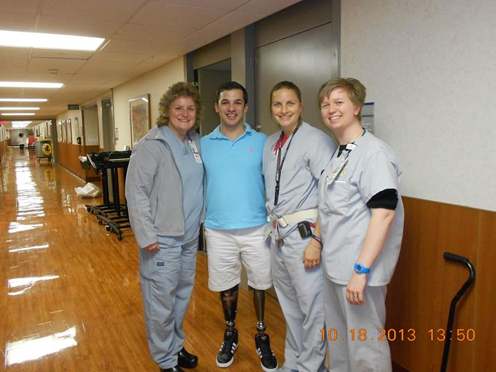 Mark visiting with some of the staff that took care of him during his time at the Ohio State University Wexner Medical Center