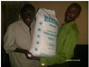 Justin was very happy to receive a bag of mealie meal for home consumption