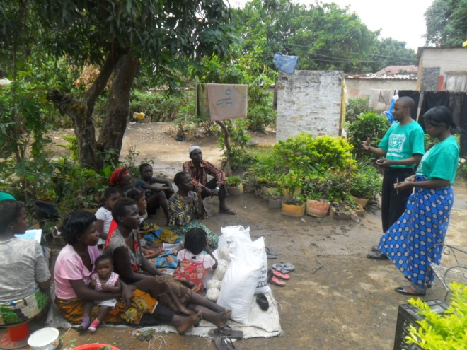 Stanley (r) introducing Mwiche Chomba (l) to our TB/HIV clients in Buchi community