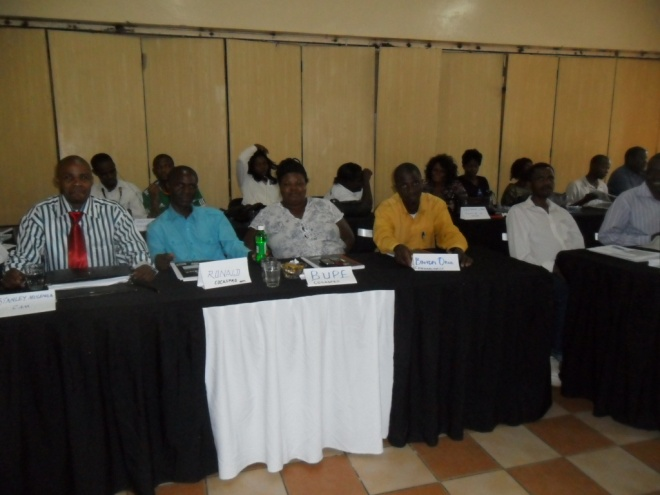 Stanley Mulenga and the rest of the participants from various organizations, attending five-day training in Good Governance and Management at CHEP