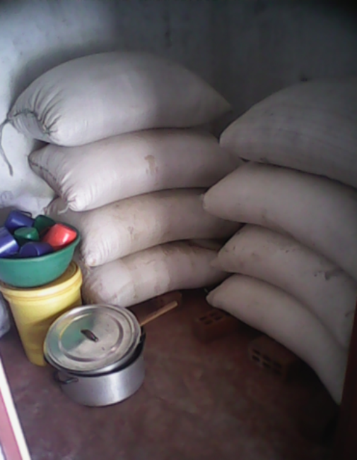 Soya beans in the stores and some of the utensils to be used during the processing of the soya