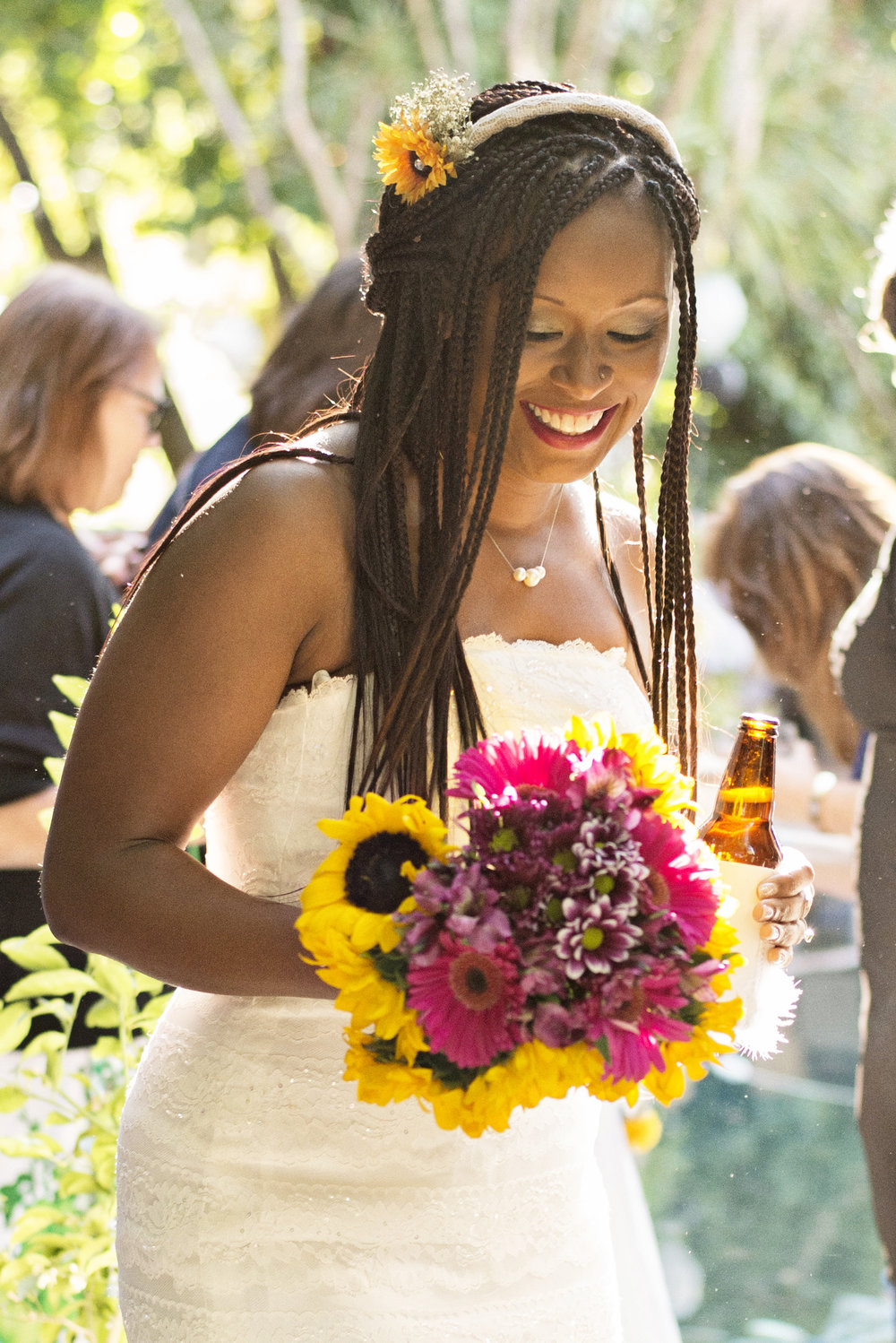 bride's radiant face with sunflowers