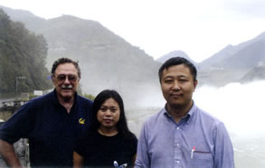 Robert Spear (left) visits the Ertan Dam in Sichuan, China, with a government official and Peng Gong of Berkeley's College of Natural Resources.