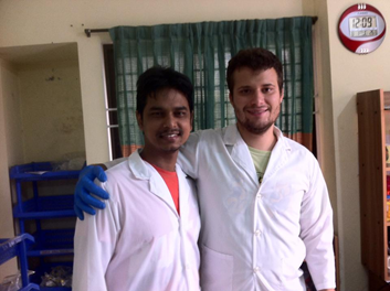 Andrew Mertens  (GHE '16) with local researcher investigating water and sanitation issues in Bangladesh.