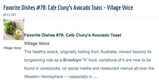 Village Voice Favorite Dish #78