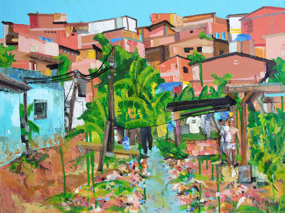 Rocinha, 2011, Oil and Mixed Media on canvas, 18 x 24 inches