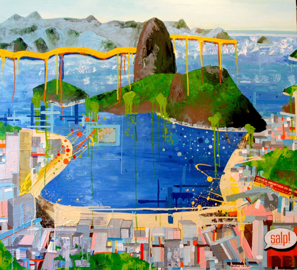 View from Botafogo, 2007, Oil and Mixed Media on canvas, 48 x 48 inches