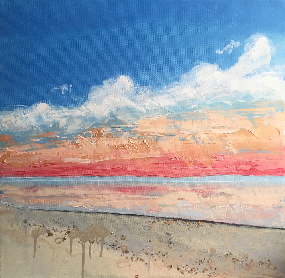 Siesta Key, 2016, Oil and Mixed Media on canvas, 24 x 24 inches