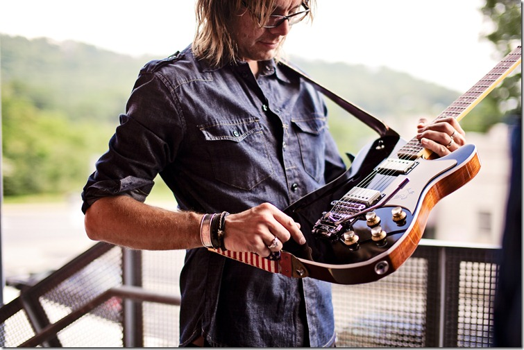 Switchfoot's guitar player Drew Shirley with Elliott Guitars Revival Photography