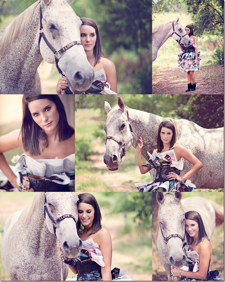Horses and newspaper dress photos by Revival Photography