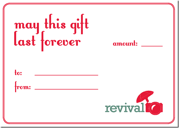Revival Photography Gift Certificates Gift Card Christmas Gift