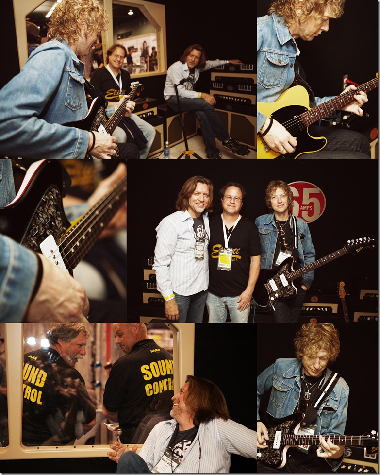 Photos by Revival Photography - Jason and Andy, of Elliott Guitars got to hang out in the 65amps booth with Peter Stroud, and Dan Boul, the president of 65amps.