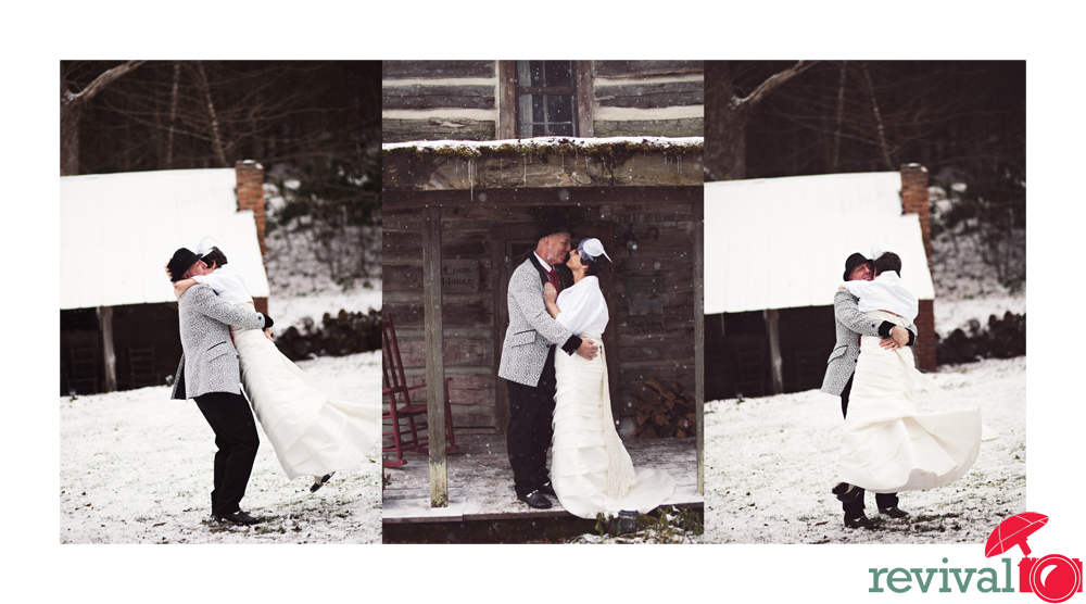 White Christmas Winter Wonderland Wedding at The Mast Farm Inn Valle Crucis NC Photography by Revival Photography