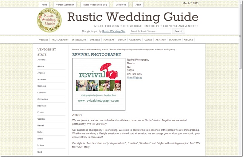 Revival Photography Featured on Rustic Wedding Guide Photo