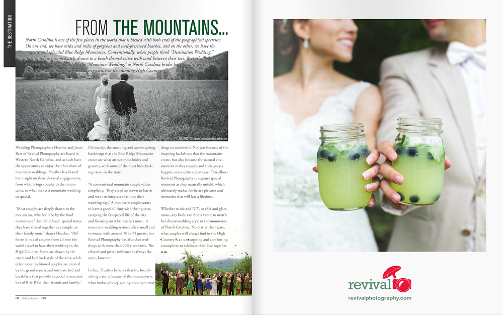 Weddings Magazine featured a little article on us and our passion for weddings in the High Country, featuring images from weddings at The Mast Farm Inn in Valle Crucis, NC.