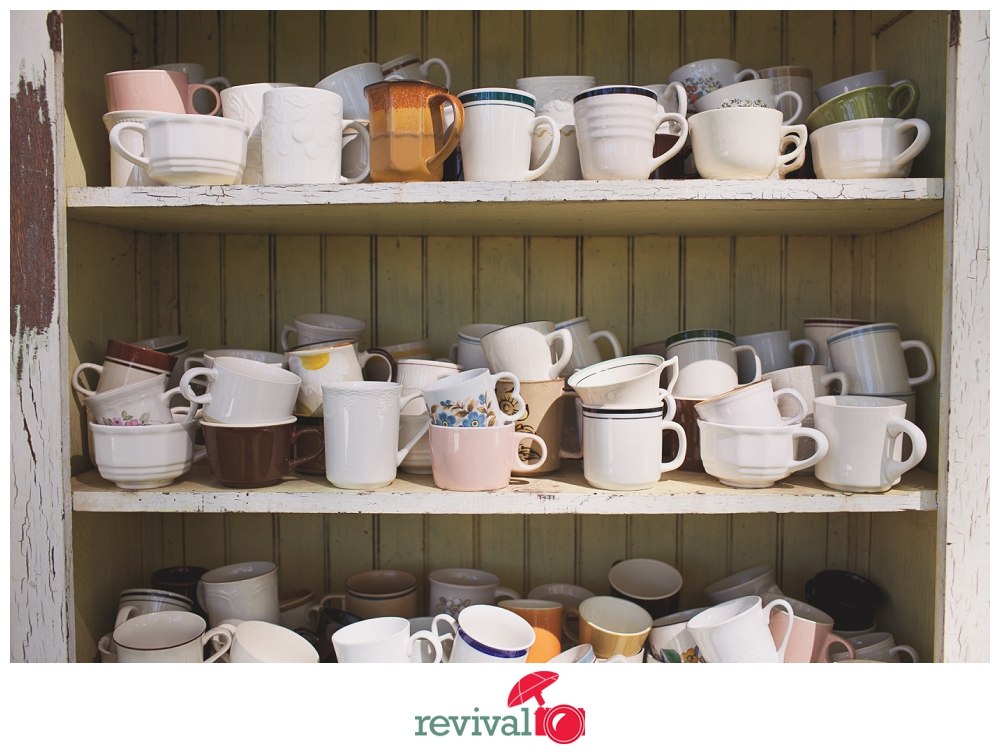 Vintage Coffee Mugs for Wedding Guests How to Plan a DIY Vintage Rustic Chic Wedding Keeping it Thrifty Photos by Revival Photography Photo