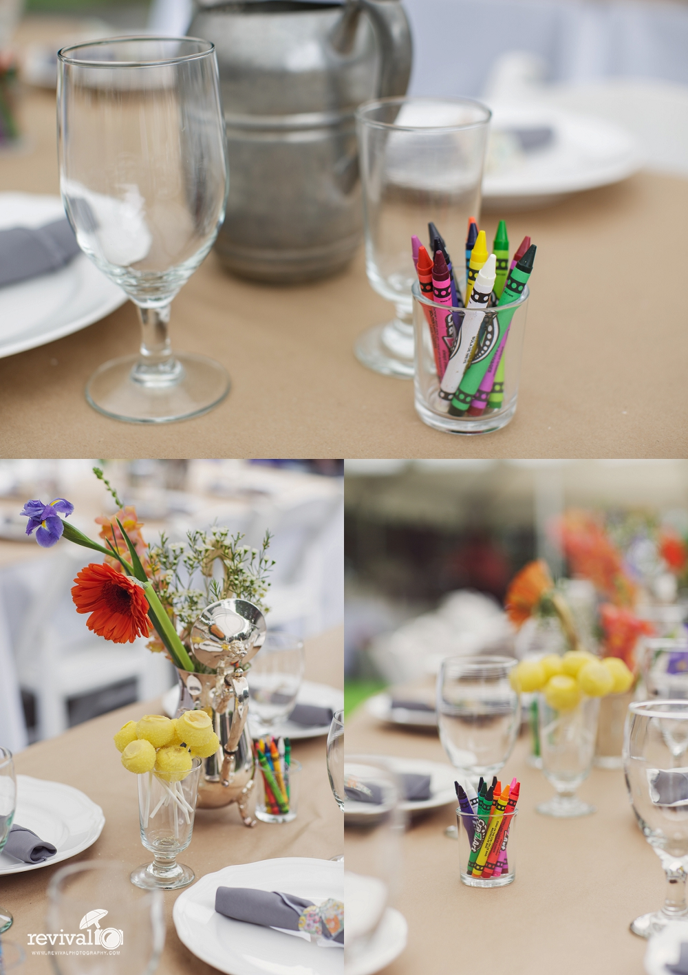 Such a fun tablescape with crayons and paper table runner so that guests can draw and color the table while they eat!
