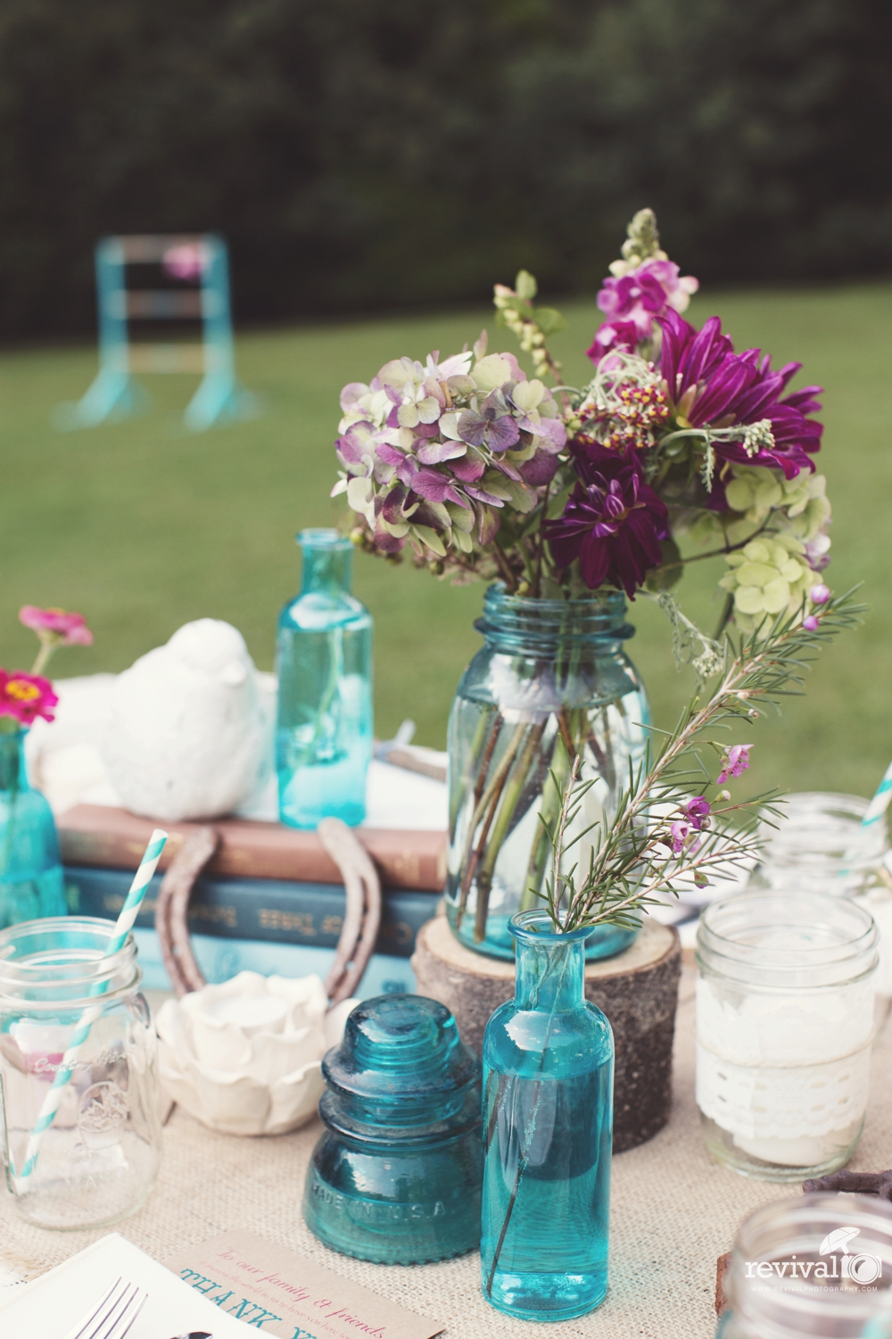Old mason jars and vintage glassware as centerpieces for weddings