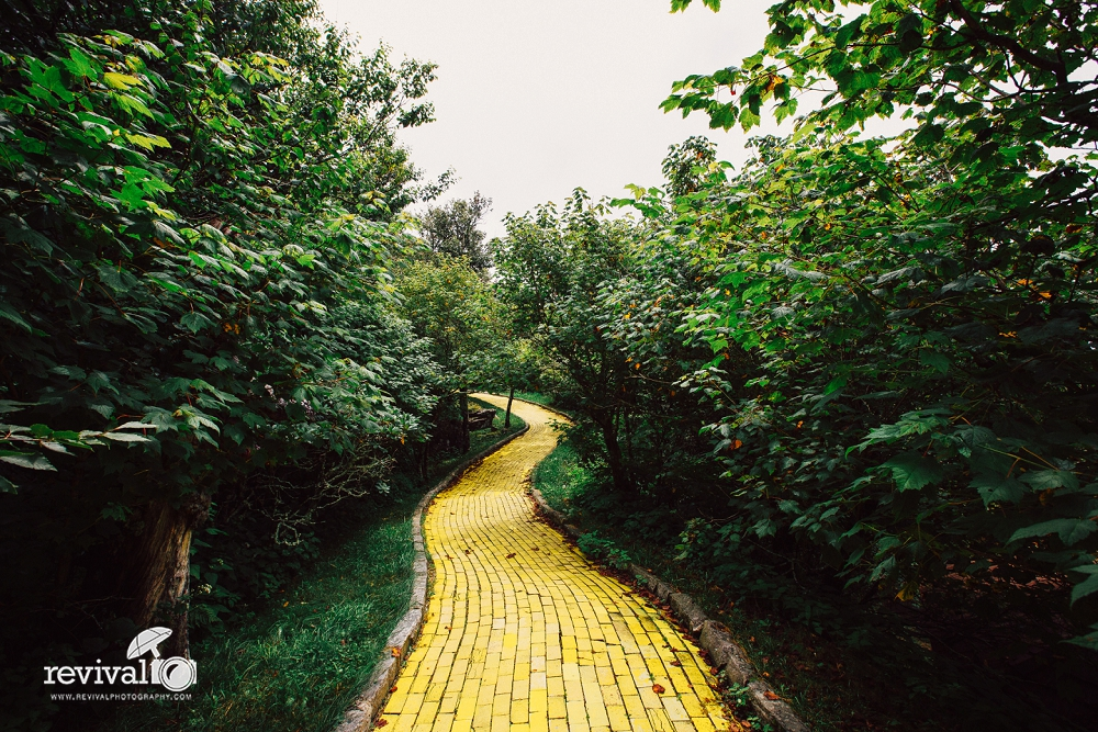 The Yellow Brick Road at The Land Of Oz Theme Park Whimsical Creative Destination Wedding at Abandoned Themepark The Land of Oz in Beech Mountain www.revivalphotography.com