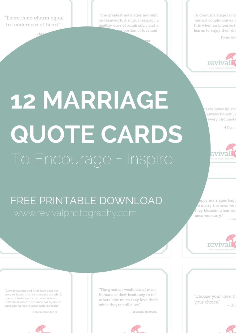 12 Marriage Quote Cards To Encourage Inspire Free Printable