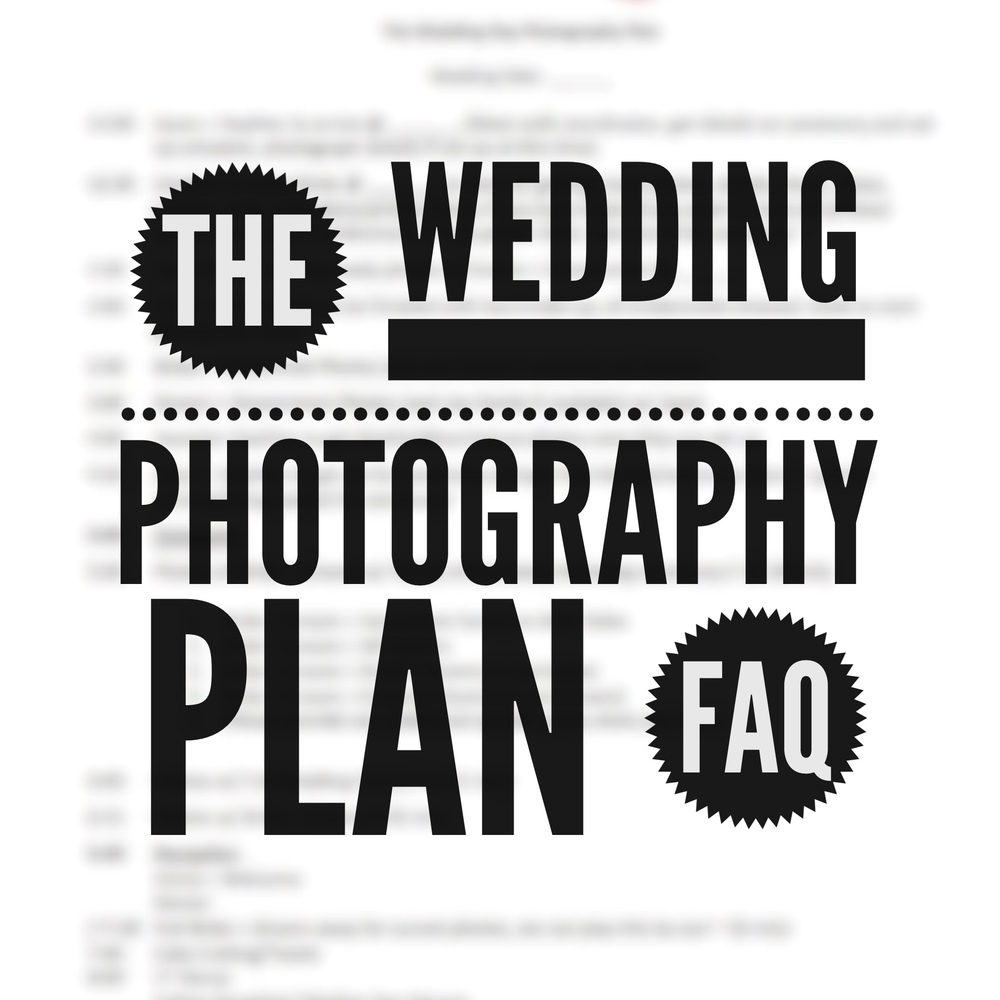 The Wedding Photography Plan: FAQ and Sample Template by Revival Photography www.revivalphotography.com