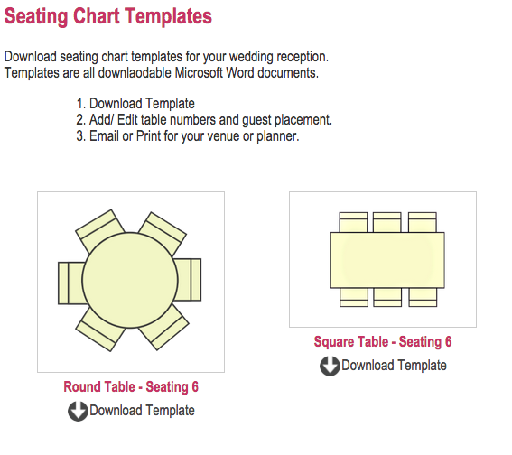 Wedding Seating Chart Templates