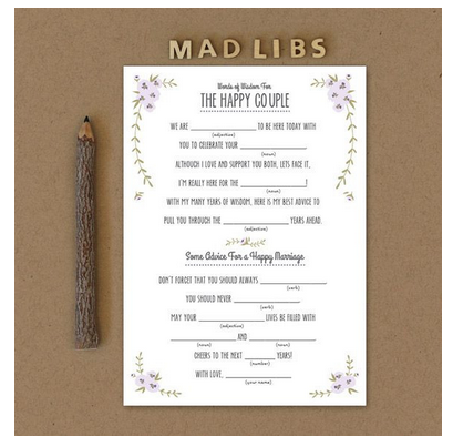Wedding Mad Libs - Your guests will be rolling in the floor and you will be too when you read through them after the wedding!