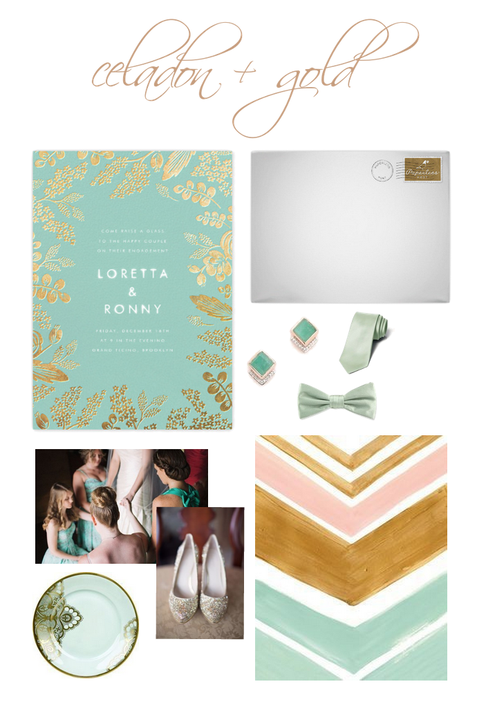 Current Wedding Obsession: Vintage Celadon + Gold on the Revival Blog www.revivalphotography.com/blog