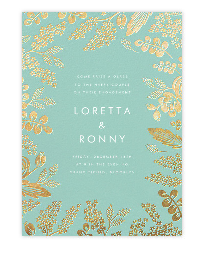 Wedding Invitation on Paperlesspost.com in Heather and Lace - Celadon/Gold