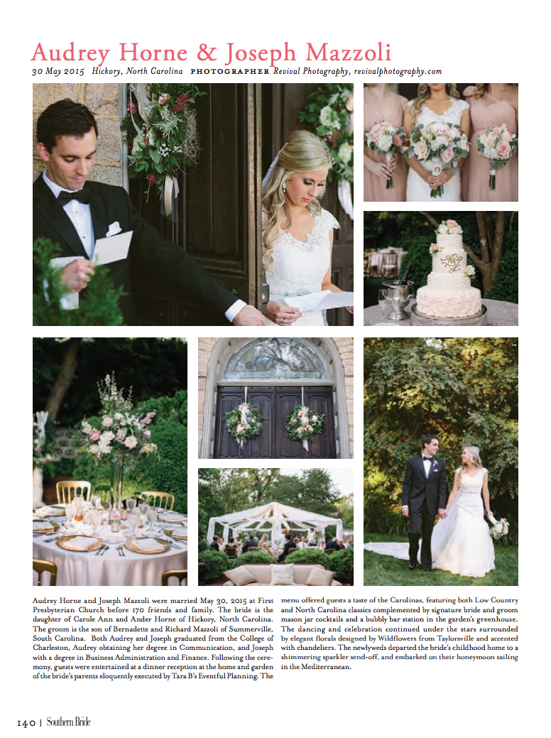 Revival Photography Featured in Southern Bride Magazine 2016 Winter-Spring Issue Photography by Revival Photography www.revivalphotography.com