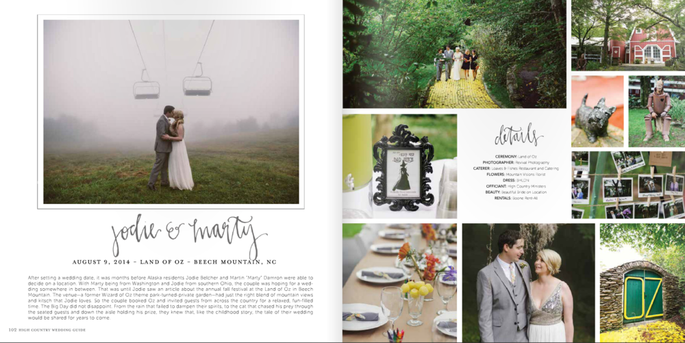 Revival Photography featured in the 2016 Issue of High Country Wedding Guide www.revivalphotography.com